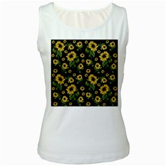 Sunflowers Pattern Women s White Tank Top
