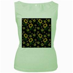 Sunflowers Pattern Women s Green Tank Top