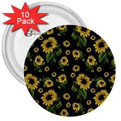 Sunflowers Pattern 3  Buttons (10 Pack)