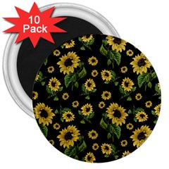 Sunflowers Pattern 3  Magnets (10 Pack)