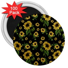 Sunflowers Pattern 3  Magnets (100 Pack)