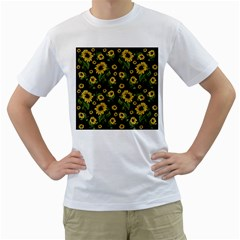 Sunflowers Pattern Men s T Shirt (white) (two Sided)
