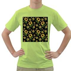 Sunflowers Pattern Green T Shirt