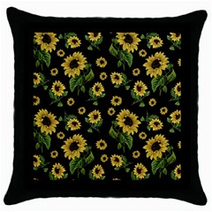 Sunflowers Pattern Throw Pillow Case (black)