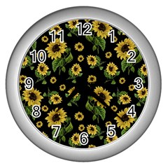 Sunflowers Pattern Wall Clocks (silver)