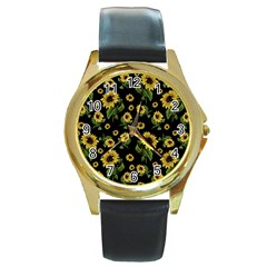 Sunflowers Pattern Round Gold Metal Watch