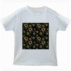 Sunflowers Pattern Kids White T Shirts