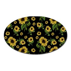 Sunflowers Pattern Oval Magnet