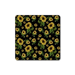 Sunflowers Pattern Square Magnet