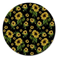 Sunflowers Pattern Magnet 5  (round)