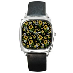 Sunflowers Pattern Square Metal Watch