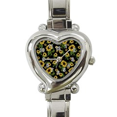 Sunflowers Pattern Heart Italian Charm Watch