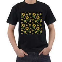Sunflowers Pattern Men s T Shirt (black) (two Sided)