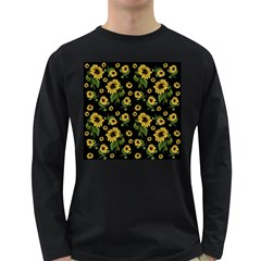 Sunflowers Pattern Long Sleeve Dark T Shirts