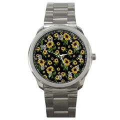 Sunflowers Pattern Sport Metal Watch