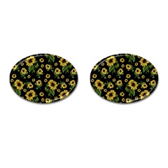 Sunflowers Pattern Cufflinks (oval)
