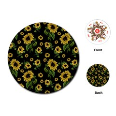 Sunflowers Pattern Playing Cards (round)