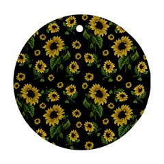 Sunflowers Pattern Round Ornament (two Sides)