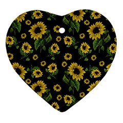 Sunflowers Pattern Heart Ornament (two Sides)
