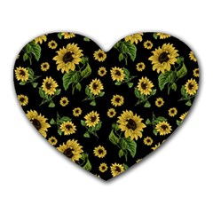 Sunflowers Pattern Heart Mousepads