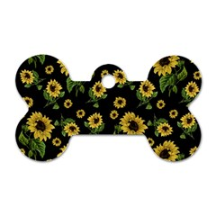 Sunflowers Pattern Dog Tag Bone (two Sides)