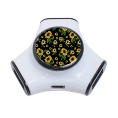 Sunflowers Pattern 3 Port Usb Hub