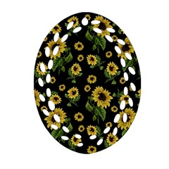 Sunflowers Pattern Oval Filigree Ornament (two Sides)