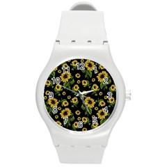 Sunflowers Pattern Round Plastic Sport Watch (m)