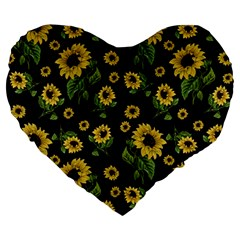 Sunflowers Pattern Large 19  Premium Heart Shape Cushions