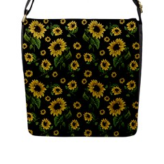Sunflowers Pattern Flap Messenger Bag (l)