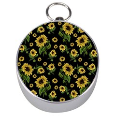 Sunflowers Pattern Silver Compasses