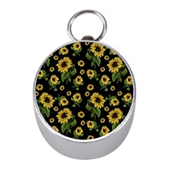 Sunflowers Pattern Mini Silver Compasses