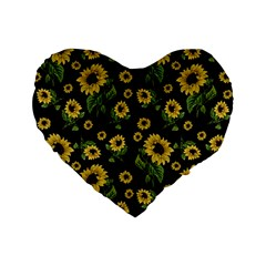 Sunflowers Pattern Standard 16  Premium Flano Heart Shape Cushions
