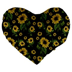 Sunflowers Pattern Large 19  Premium Flano Heart Shape Cushions