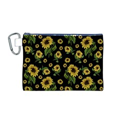 Sunflowers Pattern Canvas Cosmetic Bag (m)