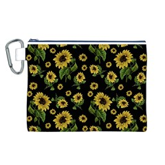 Sunflowers Pattern Canvas Cosmetic Bag (l)