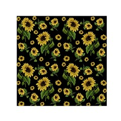 Sunflowers Pattern Small Satin Scarf (square)