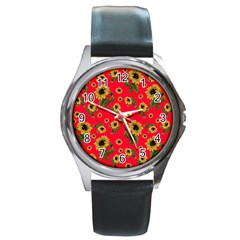 Sunflowers Pattern Round Metal Watch