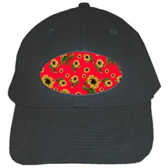 Sunflowers Pattern Black Cap