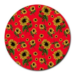 Sunflowers Pattern Round Mousepads
