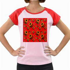 Sunflowers Pattern Women s Cap Sleeve T Shirt