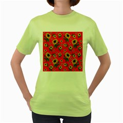Sunflowers Pattern Women s Green T Shirt