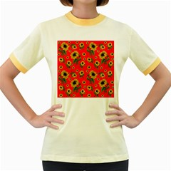 Sunflowers Pattern Women s Fitted Ringer T Shirts