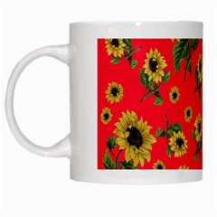 Sunflowers Pattern White Mugs