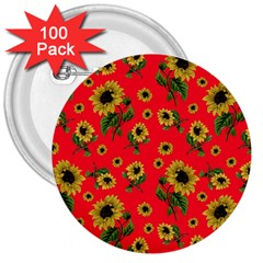 Sunflowers Pattern 3  Buttons (100 Pack)