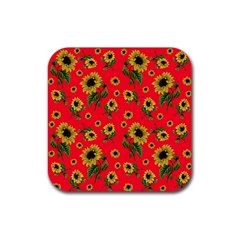 Sunflowers Pattern Rubber Square Coaster (4 Pack)