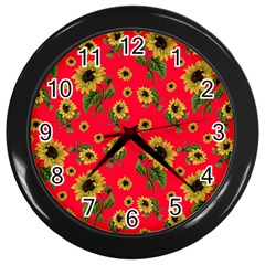 Sunflowers Pattern Wall Clocks (black)