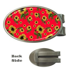 Sunflowers Pattern Money Clips (oval)