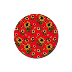 Sunflowers Pattern Rubber Round Coaster (4 Pack)
