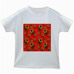 Sunflowers Pattern Kids White T Shirts